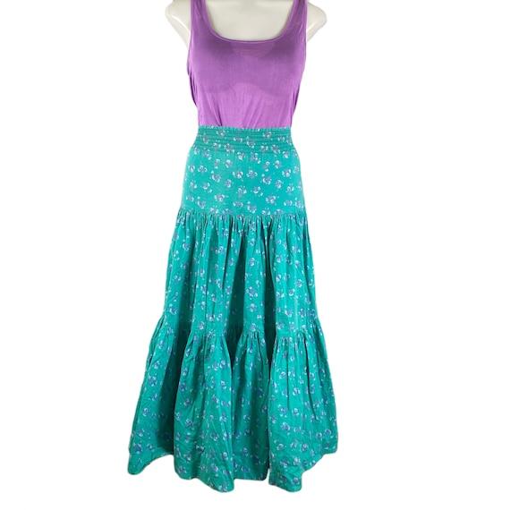 Vintage Laura Ashley Skirt 1970's Three Tiered Ru… - image 1