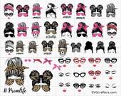 Messy bun svg, Messy bun with glasses svg, momlife svg, mom skull svg, messy bun classy afro woman svg - Printable, Cricut Silhouette