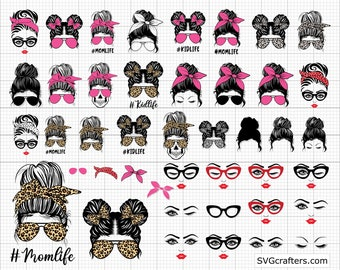 Messy bun svg,  Messy bun with glasses svg,  momlife svg,  mom skull svg,  messy bun classy afro woman svg - Printable, Cricut & Silhouette