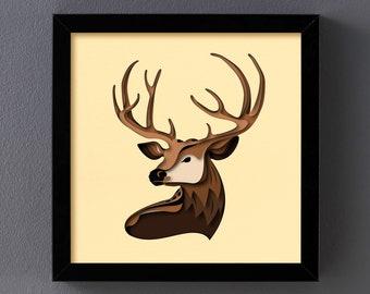 3D Deer, 3D Paper Cut Shadow Box Template, SVG Digital Download Files, Shadow Box SVG Digital Download Files, For Cricut, Lightbox