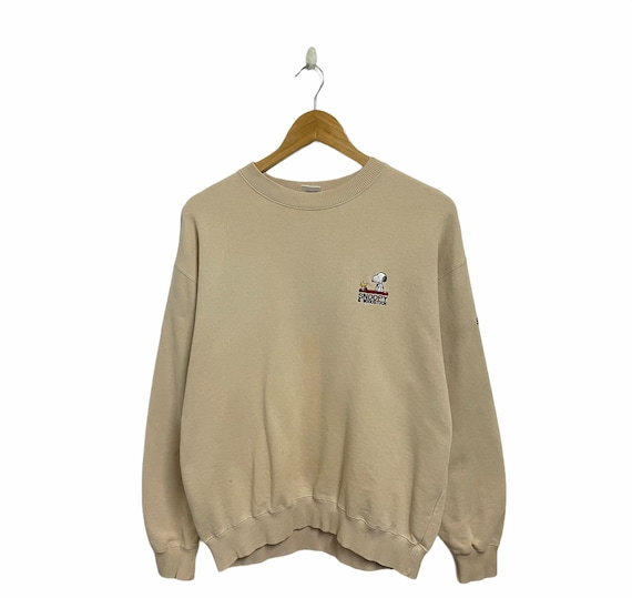 Vintage Peanuts Snoopy Sweatshirt Snoopy Crewneck Sweater Pullover Snoopy Big Logo Spellout Hoodie Missing Tag Size M PICK!