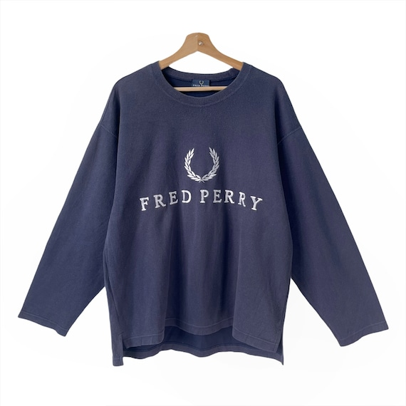 Vintage Fred Perry Sweatshirt poloshirt Embroidery Big Logo Large Size Jumper