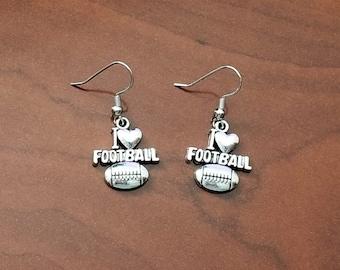 I Love Football Silver Tone Earrings