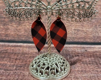Faux Leather Buffalo Plaid Leaf Earrings - Red & Black