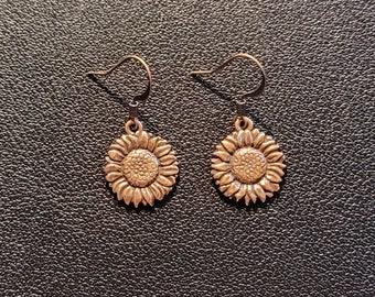 Copper-Plated Pewter Sunflower Earrings