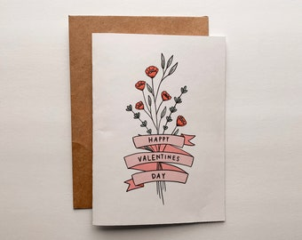 Flower Banner Valentine's Card - Love Card, Valentine's Day Card, Special Occasion Card, Cute Card For Her, Cute Valentine's Day Card