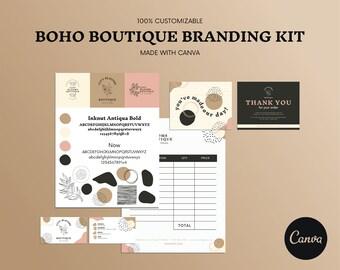 Boho Boutique Branding Kit for Canva, Templates, Custom Branding Kit, Logo Design, Canva Template Bundle, Editable Branding Templates
