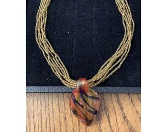"""Beaded 6 Strand Necklace Acrylic Leaf Pendant Fashion Jewelry 19"""""""