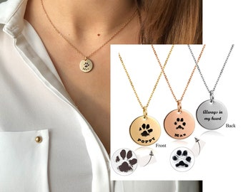 Your Pet/'s Actual Paw Print \u2022 Custom Paw Print Necklace \u2022 Remember Your Pet \u2022 In Memory of Dog \u2022 Pet Loss Jewelry \u2022 Pet Memorial \u2022 Keepsakes