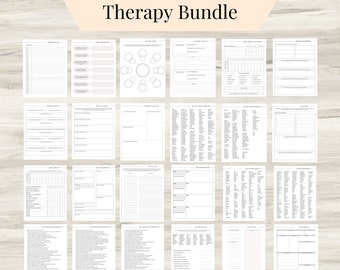 Therapy Journal Worksheets, digital Mental Health Pages, Daily self-care, Mental health, and Emotion list, Value List, and Journal Prompts
