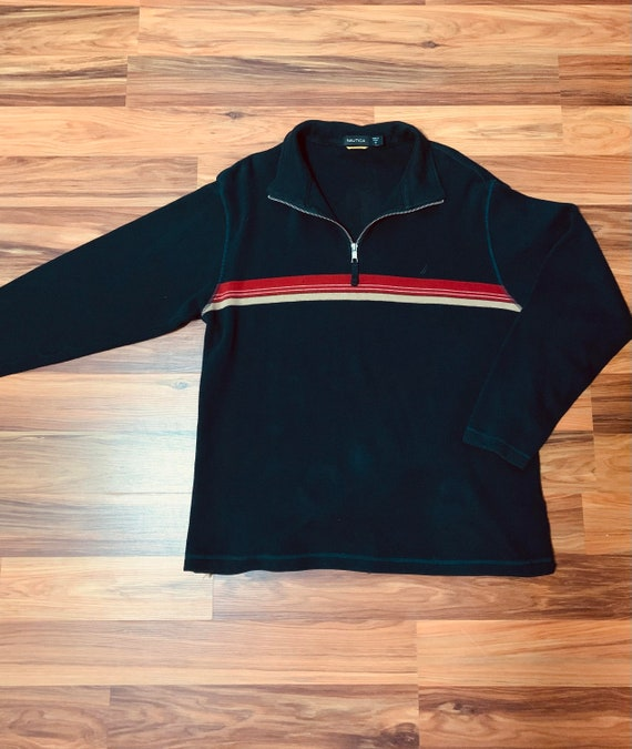 Vintage 90s Nautica Sweater Quarter Zip Navy Blue