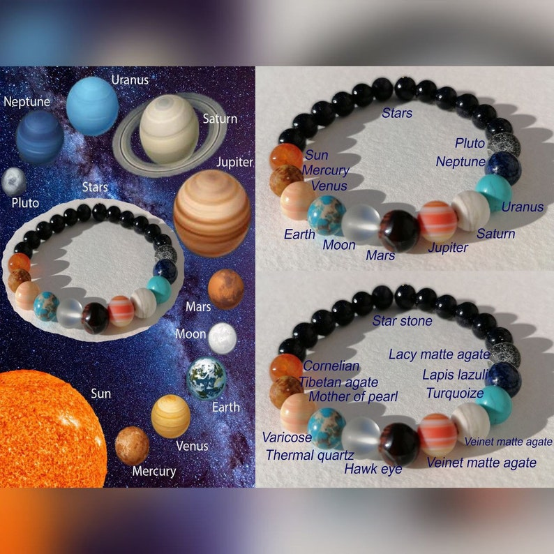 Solar System Natural Stone Unisex Bracelet Planets Natural Stone Bracelet for women Handmade Bracelet Special Day Gift men and child