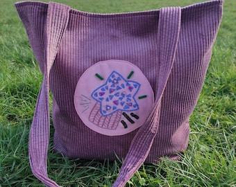 Hand Embroidered Big Tote Bag, Original Design Corduroy Shoulder Bag