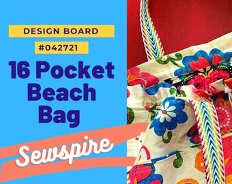Sewspire Design Board #042721 - 16 Pocket Beach Bag