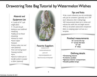 Step by Step - Drawstring Bag Sewing Tutorial