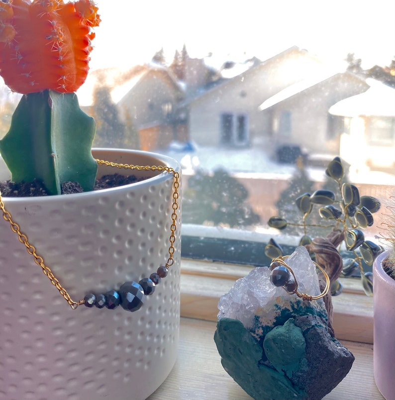 Grey Bead Necklace  minimalist jewelry  gemstone necklace