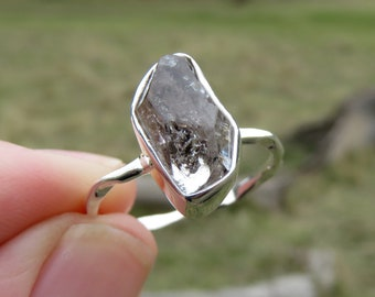 Herkimer diamond ring, size 8, sterling silver ring for women, diamond quartz ring men, rings silver jewellery, raw stone ring with gemstone