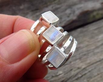 Rainbow moonstone ring, 925 sterling silver ring, blue stone ring, moonstone jewellery, gemstone rings for women, Australia jewellery seller
