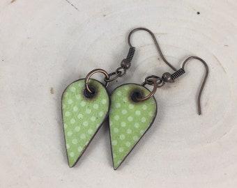 Green Polka Dot Teardrop Wood Earrings