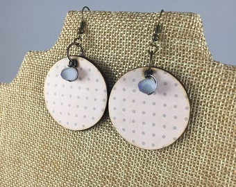 Pink Gray Polka Dot Ombre Crystal Beaded Wood Earrings