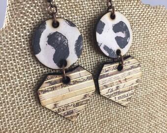 Black White Animal Print Wood Panel Geometric Shape Statement Earrings