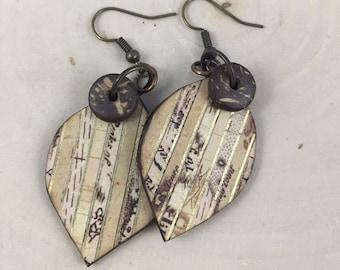 Wood Panel Dangle Bead Earrings Leaf Shape Lightweight
