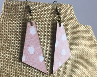 Pink with White Polka Dot Drop Earrings