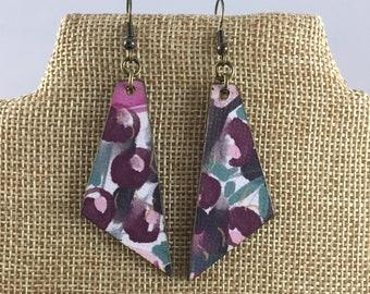 Watercolor Floral Motif Drop Earrings