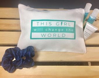 Aqua Medium Cosmetic Bag (This Girl Will Change the World)