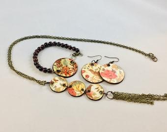 Rust Brown Beige Teal Floral Wood Jewelry Set