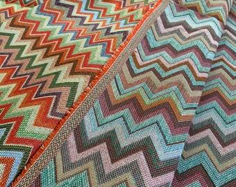2.80 x 2.90 meters - elegant gobelin fabric in multicolored cotton - classic MISSONI pattern