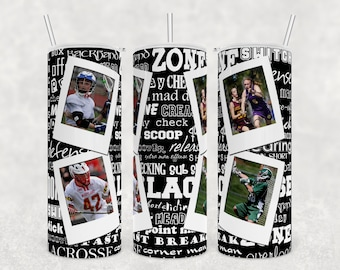 lacrosse tumbler lacrosse mom gift picture tumbler design 20 oz skinny sublimation design birthday gift for her customizable gift idea