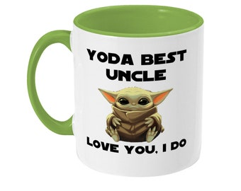 Personalised yoda best uncle two tone double sided coffee mug gift for uncle best uncle present custom made uncle mug yoda fan