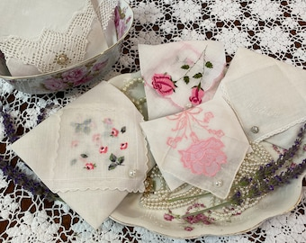 Beautiful lavender sachet made from a vintage handkerchief fresh lavender aromatherapy