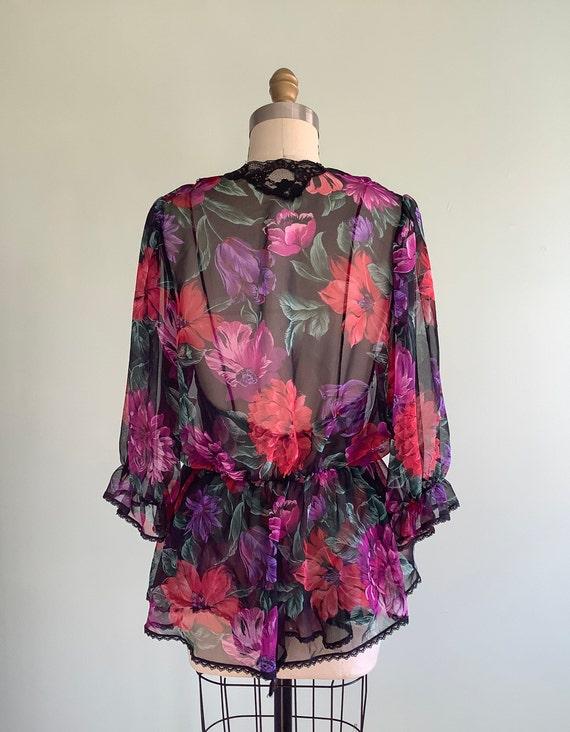 1980s Dark Floral Sheer Teddy & Bed Jacket Lucie … - image 3