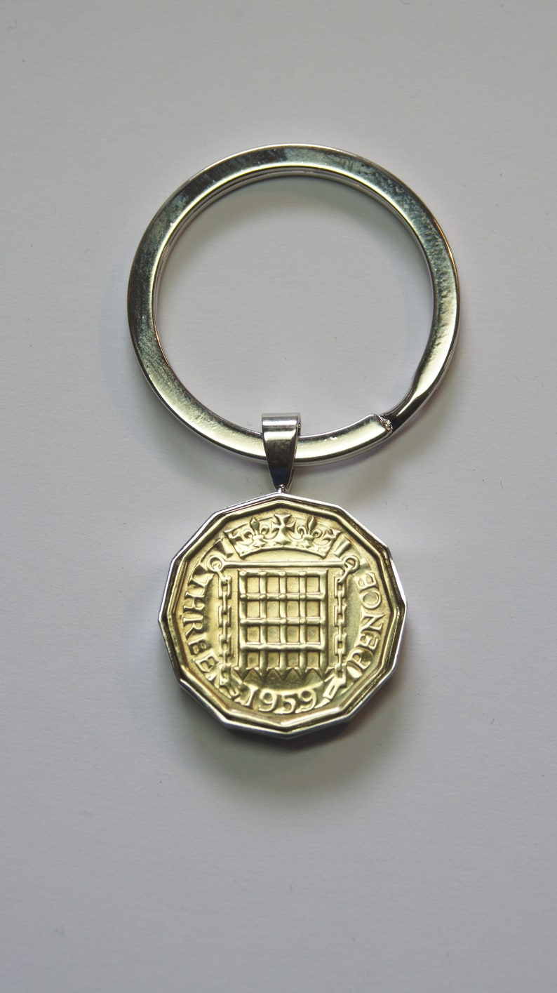 Grandma Gift 1959 Threepence Coin Keyring UK Coin Mother/'s Day Coin Jewellery