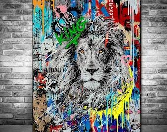 Wall PICTURES GRAFFITI STREET ART FLEECE CANVAS PICTURE-XXL Images Art Print 40161