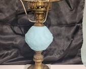 VTG FENTON Glass Company Blue Satin Poppy Student Lamp Bottom on Marble no top shade