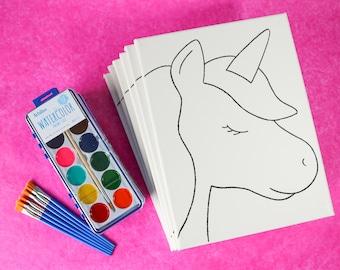 Unicorn Painting Party, Unicorn Crafts, Unicorn Art Kit, Canvas Painting, Art Box, Unicorn Birthday, Girl Party Activity, Girl Painting Kit