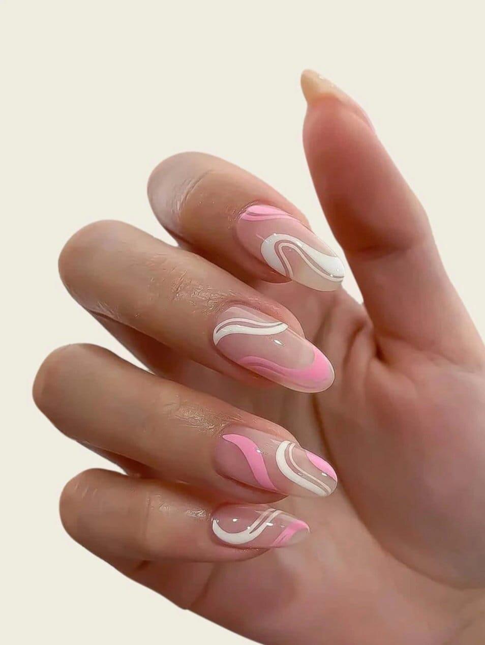 24Pcs Press On Nails Set | Almond Nails | Abstract Swirl Press On Nails | Long Luxury Fake Nails | False Nails | Nail Tips | Nude Pink White