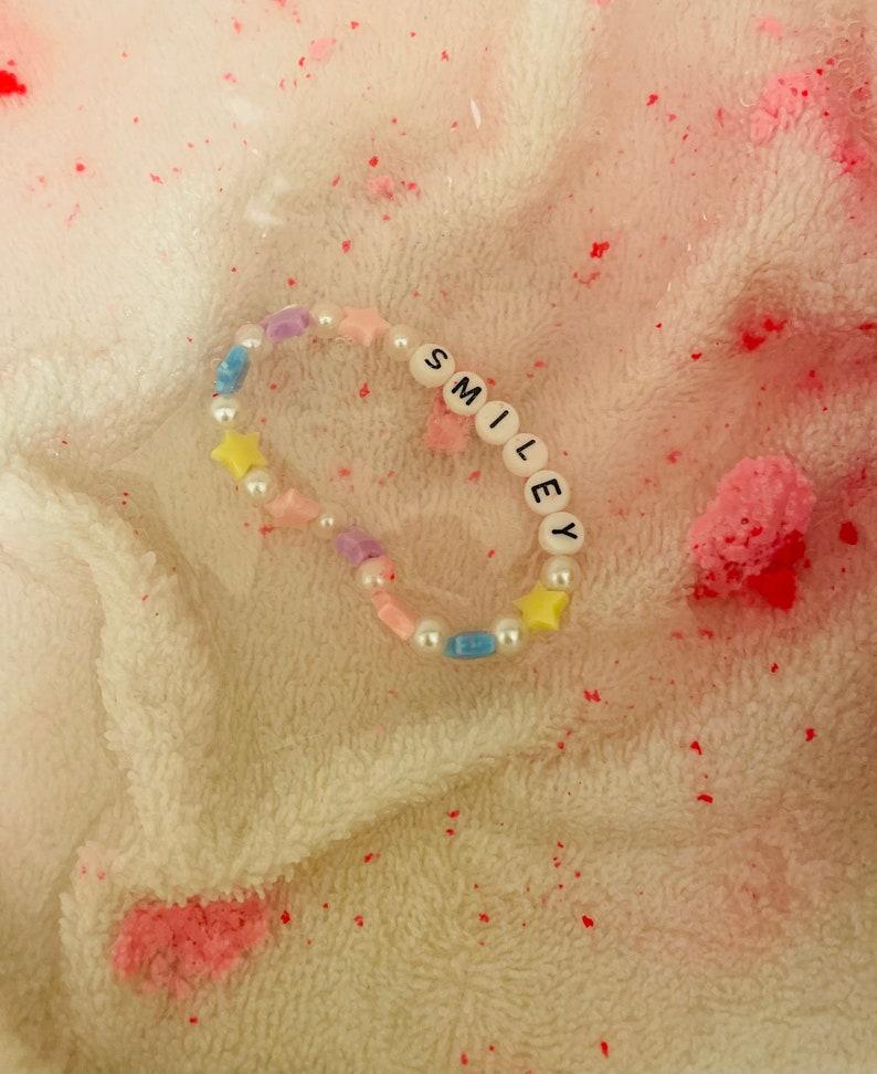 Star and pearl beaded letter bracelet