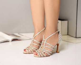 All Over Pearls Strapy Dance Shoes