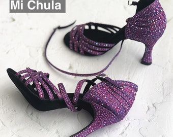Purple Glitter Dance Shoes