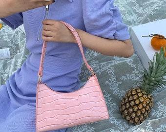 Retro Alligator PU Leather Handbag Women Backpack Zipper Shoulder Purse Bags UK@