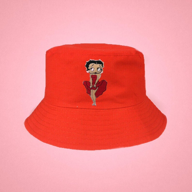 Betty Boop Red Marilyn Bucket Hat Y2K Festival Rave Fashion 2000s patch hot pink