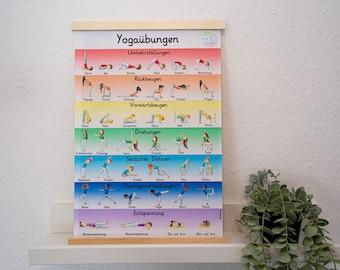 Kinderyoga Poster mit Yogaübungen als pdf zum ausdrucken