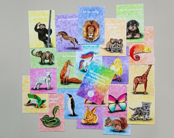 """20 Affirmation Cards """"Animals"""" for Children Mutmach Cards Lucky Cards"""