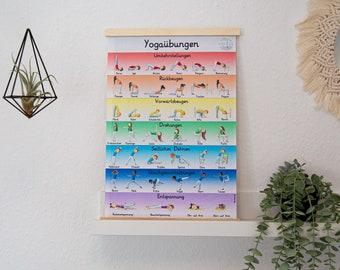 Yoga Poster A2 Children Exercises School Kita Children's Room Asanas Postures 36 Exercises plus 4 Relaxation Layers