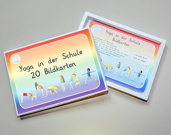 20 Picture Cards on DIN A5 Yoga in School Children's Yoga Exercises Postures Position Asanas Chair Yoga