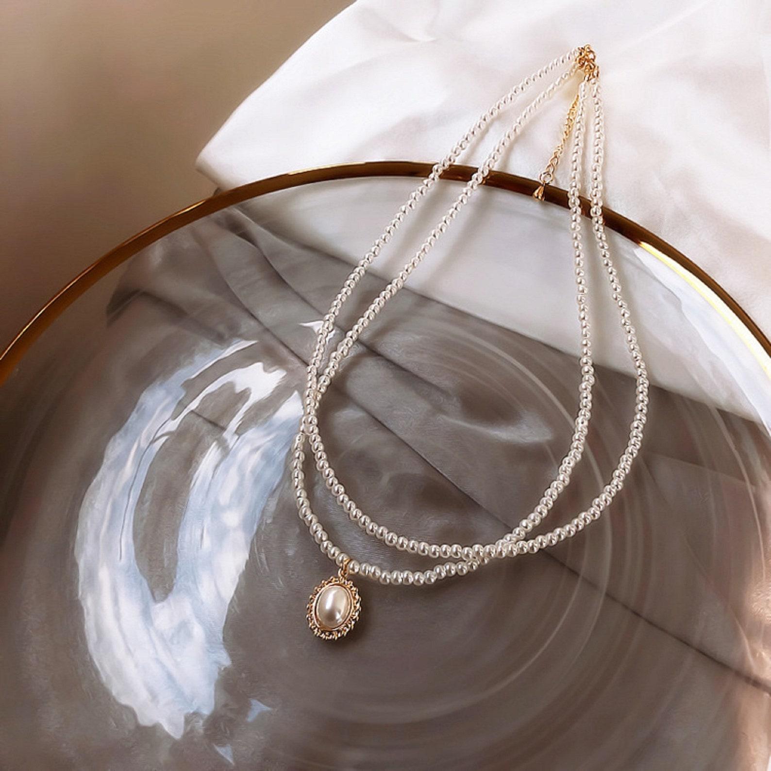 Perle Halsband Halskette für Frauen Doppelschichten